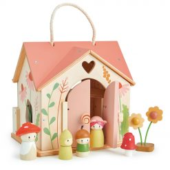 Tenderleaf Toys Rosewood Cottage is simply the cutest portable wooden doll cottage! with its rose coloured roof, complete with accessories