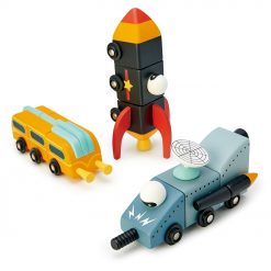 Tenderleaf Toys Wooden Space Race play set includes three futuristic space vehicles made from three separate parts so they can be deconstructed and reconstructed however your little one sees fit,