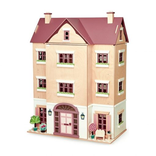 Tenderleaf Fantail Hall is a magnificent wooden dollhouse with a central gable on the front elevation, two patio areas on either side