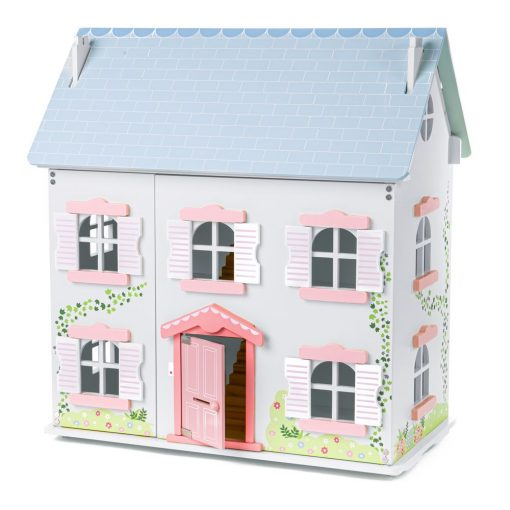 Ivy Wooden Doll House on 3 levels with close over front and working windows and doors