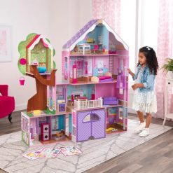 Treehouse Retreat Mansion wooden doll house by Kidkraft in vibrant pink and purple comes complete with furniture