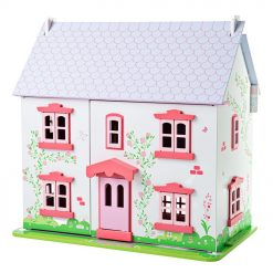 Rose Cottage Doll House is a beautifully constructed wooden Dollhouse with 18 play pieces and a lift back roof